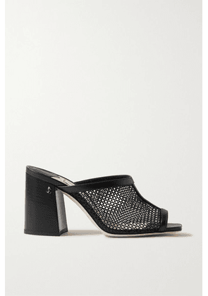 Jimmy Choo - Joud 85 Mesh And Leather Mules - Black