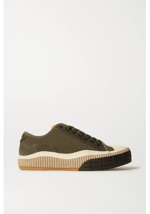 Chloé - Clint Suede, Leather And Rubber-trimmed Canvas Sneakers - Dark green