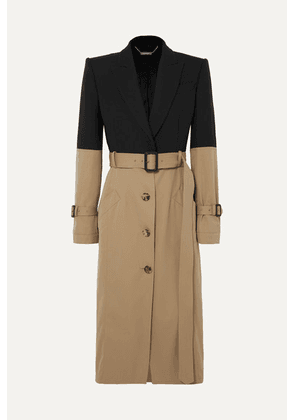 Alexander McQueen - Belted Two-tone Cotton Coat - Beige