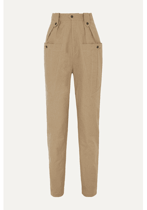 Isabel Marant - Yerris Pleated Cotton-twill Tapered Pants - Army green