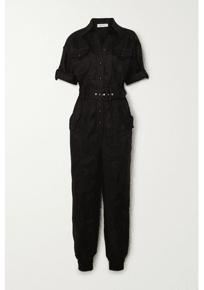 Zimmermann - Super Eight Belted Linen Jumpsuit - Black