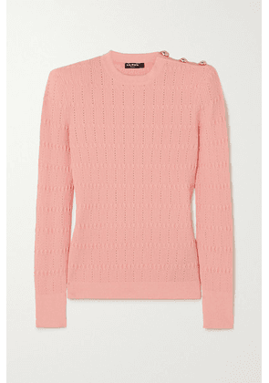 Balmain - Button-embellished Ribbed-knit Sweater - Pink