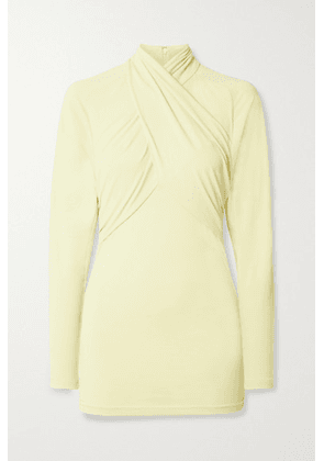 Isabel Marant - Georgina Twist-front Stretch-crepe Top - Pastel yellow