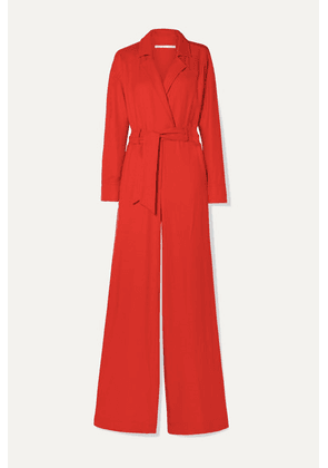 Veronica Beard - Lionel Wrap-effect Woven Jumpsuit - Red