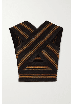 Balmain - Cropped Cutout Striped Wool And Metallic Knitted Top - Black