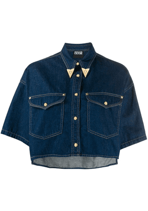 Versace Jeans Couture metal-tip collar cropped denim shirt - Blue