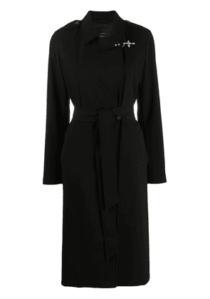 Fay belted wrap-front coat - Black