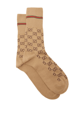Gucci - GG Supreme-intarsia Cotton-blend Socks - Mens - Camel