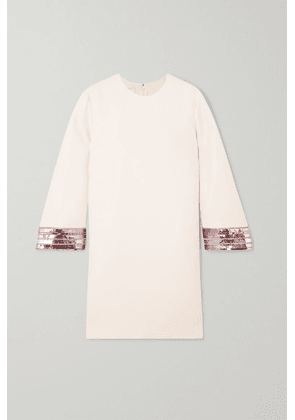 Valentino - Sequin-embellished Wool And Silk-blend Crepe Mini Dress - Ivory