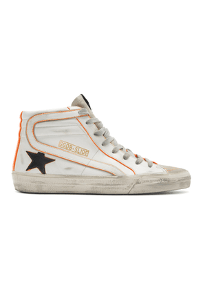 Golden Goose White and Orange Slide High-Top Sneakers