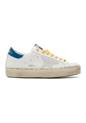 Golden Goose White and Blue Hi Star Sneakers