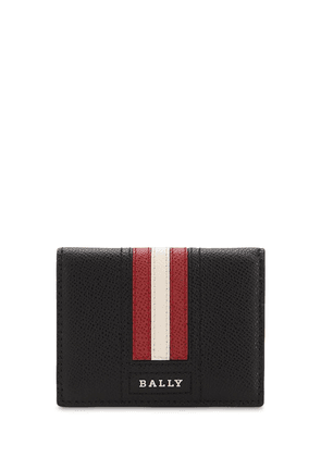Logo Stripe Leather Card Holder