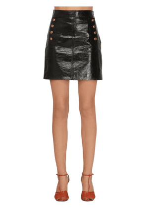 Vintage Buttoned Leather Mini Skirt