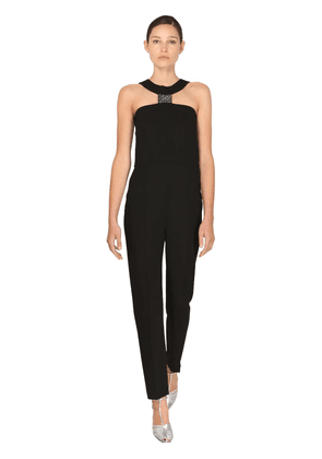 Fitted Crepe Jumpsuit W/ Crystals Detail