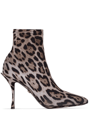 Dolce & Gabbana leopard print 90mm sock ankle boots - Brown