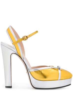 Gucci two-tone bow detail pumps - SILVER