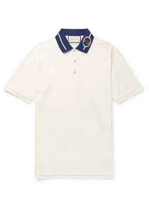 Gucci - Slim-fit Logo-embroidered Stretch-cotton Piqué Polo Shirt - Off-white