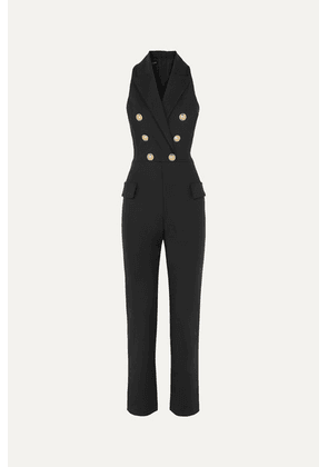 Balmain - Button-embellished Wool-blend Jumpsuit - Black
