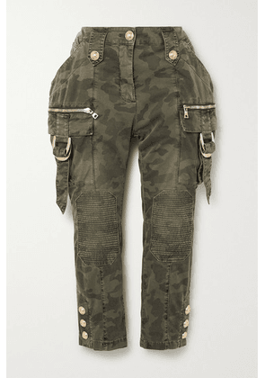Balmain - Cropped Button-embellished Camouflage-print Denim Slim-leg Pants - Army green
