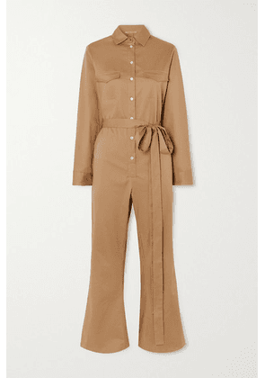 Maggie Marilyn - + Net Sustain Bite The Bullet Cropped Belted Cotton-blend Twill Jumpsuit - Beige