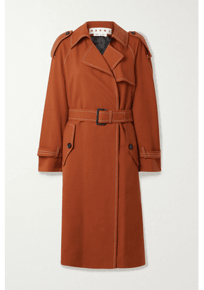 Marni - Belted Wool-twill Trench Coat - Brick
