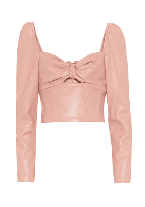 Faux-leather bustier top