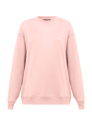 Acne Studios - Forbra Oversized Face-patch Cotton Sweatshirt - Womens - Light Pink