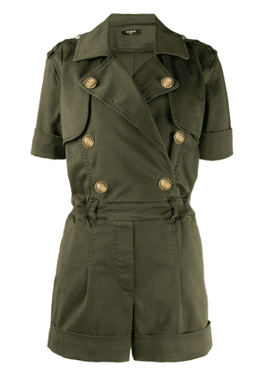 Balmain double-breasted short-sleeved playsuit - Green