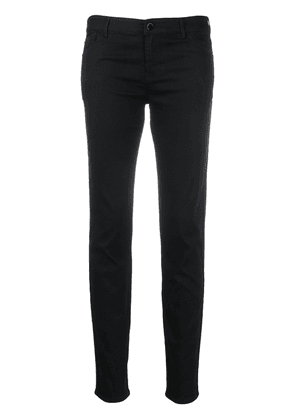 Emporio Armani logo embroidered fitted jeans - Black