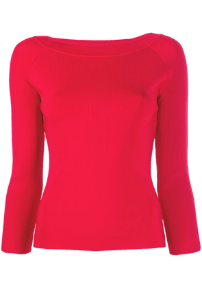 Emporio Armani three-quarter sleeve fitted top - Red