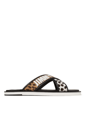 PALMO Sugar Mix Leopard Print Pony Sandals with Logo Embroidery