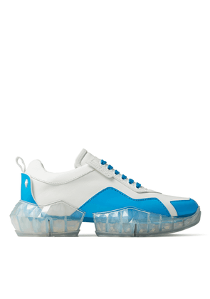 YK-DIAMOND/M White Leather Low Top Trainers with Neon-Blue Trim