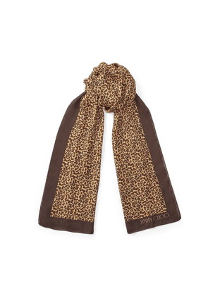 RORY Natural Leopard Print Silk Stole