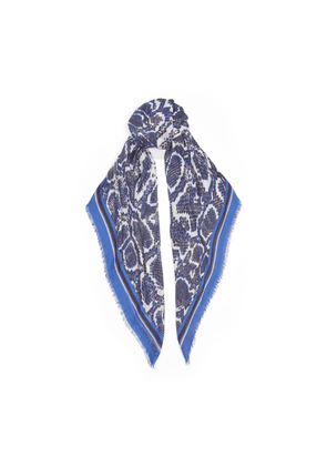 NADIA Cobalt Cashmere and Modal Shawl with Reptile Print
