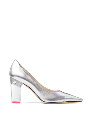 YK-LOVE Silver Metallic Leather Pointed Pumps