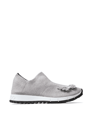 VERONA Silver Metallic Knit Trainers with Crystal Detailing