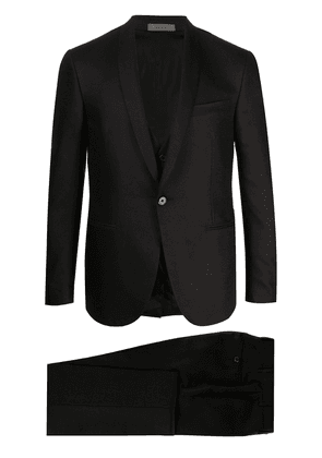 Corneliani Academy front pleated suit - Black