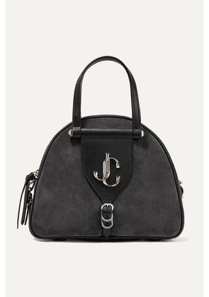Jimmy Choo - Varenne Leather-trimmed Suede Tote - Charcoal
