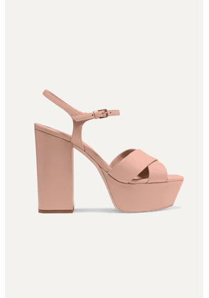 SAINT LAURENT - Farrah Leather Platform Sandals - Neutral