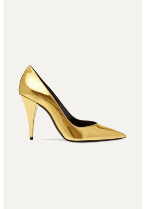 SAINT LAURENT - Kiki Mirrored-leather Pumps - Gold