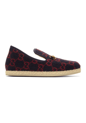 Gucci Navy and Red Wool GG Loafers