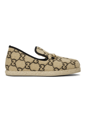 Gucci Beige Fria Covered Wool GG Loafers