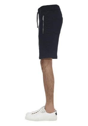 Logo Embossed Cotton Jersey Shorts