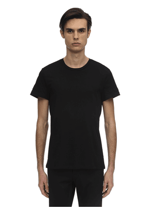 Embossed Sleeves Cotton Jersey T-shirt