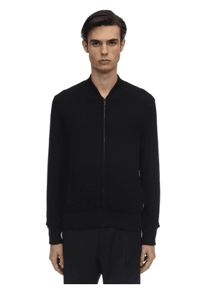 Hydro-repellent Textured Bomber Sweater