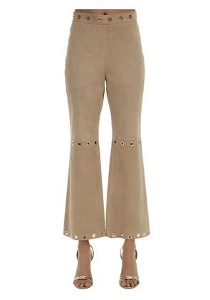 Cropped Suede Pants W/ Ring Details