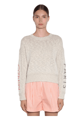 Knit Sweater W/ Embroidered Sleeves