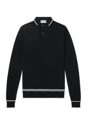 John Smedley - Treeby Contrast-tipped Wool Polo Shirt - Black