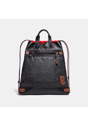 Coach Academy Drawstring Backpack In Signature Canvas With Patch