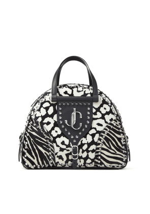 VARENNE BOWLING/M Black and White Animal Print Pony Bowling Bag with JC Emblem and Studs